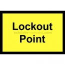 Warnschilder mit Text: Lockout Point - Sperrpunkt
